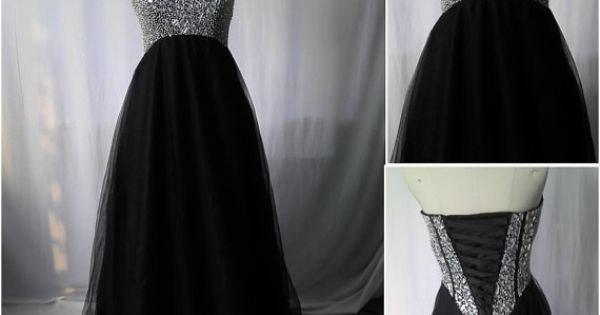 A Line Prom Dress,Beaded Evening Dresses,Black Party Dress,Tulle Bridesmaid Dresses,Long Prom Dresses,Sweetheart