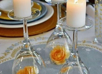 Wine glass candle holder- what a great idea