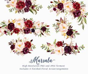 Watercolor Floral Clip Art Marsala Small Set Individual Png Files