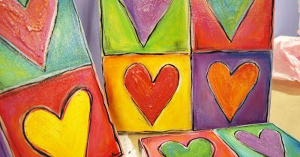 The Dreaming Bear Art Studio I Heart Hearts Kids Canvas Painting Valentines Art Heart Painting