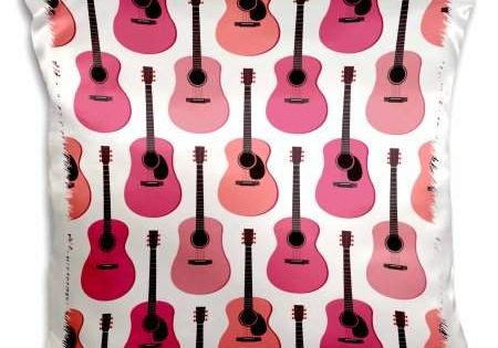 Pink Acoustic Guitars Pattern Pillow Case 16 X 16 In Fun Throw Pillow Cover In Satin For Texture Acoust Pillowcase Pattern Guitar Patterns Pillow Pattern