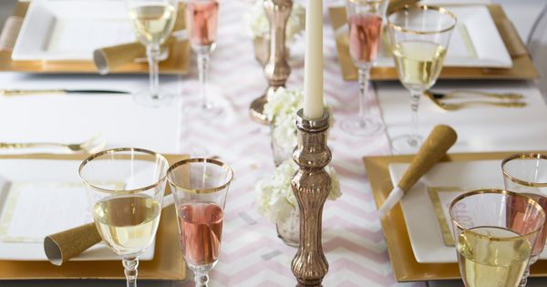 elegant gold and white New Year's Eve tablescape
