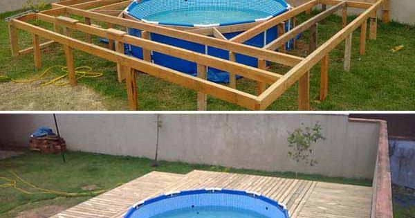 Top 19 simple and low budget ideas for building a floating for Floating deck around above ground pool