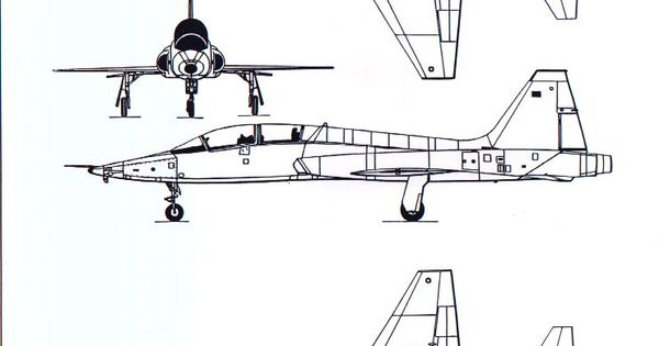 T 38 Line Drawing Aircraft 3 View Scale Drawings
