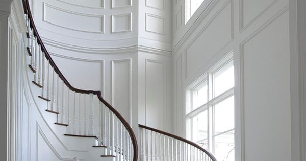 Foyer Staircase Quote : Picture frame molding behind staircase on wall design