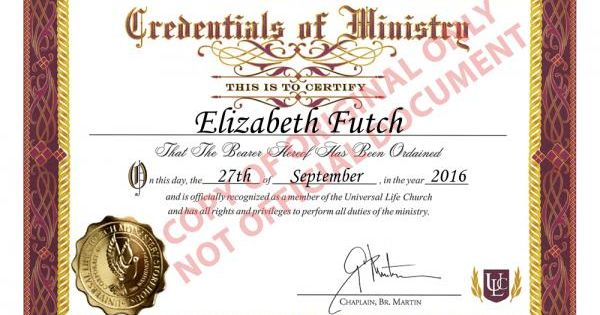 I Just Got Ordained Online As A Minister Of The Universal Life Church
