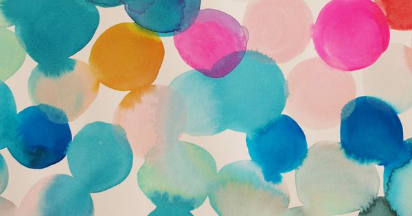 Emily Green — Watercolour painting - seafoam hot pink mustard teal