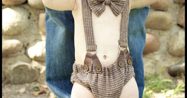 Adorable! Baby Boy Diaper Cover, Suspenders, Bow Tie, Shoes and Newsboy Hat.