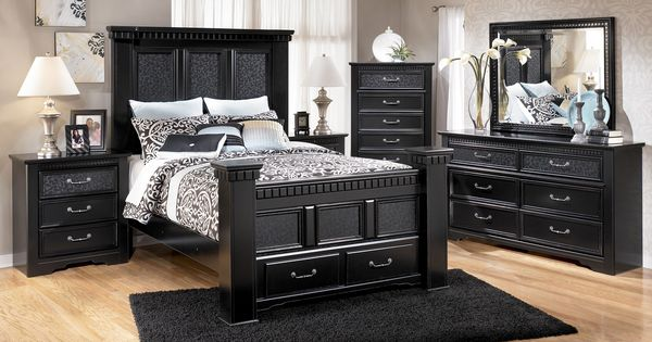 Ashley Cavallino Queen Poster Bed With Storage Bedroom Raleigh Furniture Home Comfort