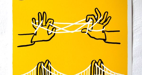 Brooklyn Bridge 3 color silkscreen, signed and numbered 60cm x 42cm /24in