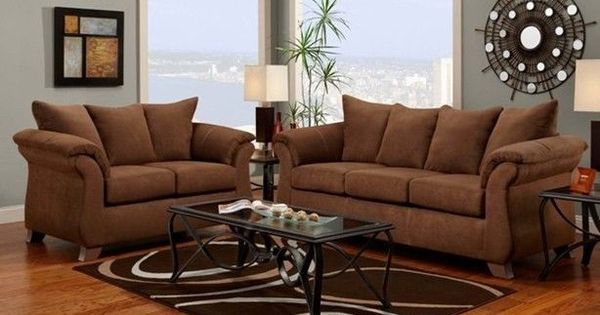 Aruba Chocolate Brown Microfiber Sofa Loveseat Living Room Furniture Set Microfiber Sofa
