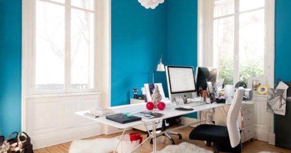 Arbeitszimmer farbe  arbeitszimmer-blaue-farbe-lagune moderne gestaltung ...