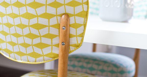 chaise vintage, chaise jaune, tissu jaune graphique, chaise mademoiselle dimanche, Mathilde Alexandre,
