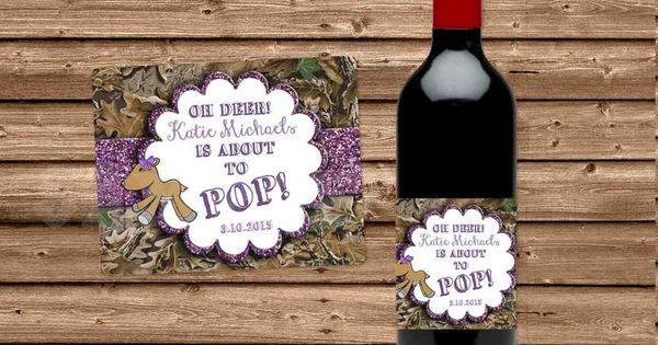 Deer Girl Baby Shower Wine Bottle Labels - Mini, Champagne, Beer ...