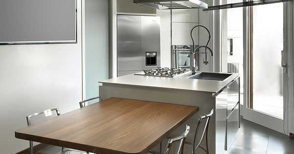cucina isola laccar bianca tavolo in legno massello piede in acciaio ...