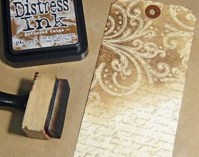 "Great series of stamping and distressing techniques used on the ""12 Tags"
