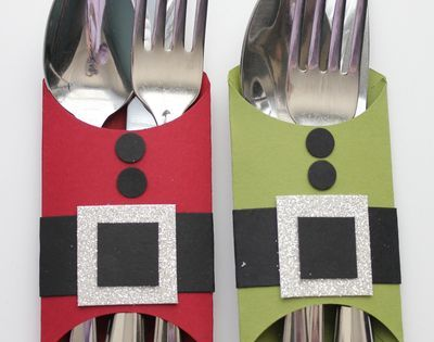 Tablescape - cutlery holders - 10 Christmas crafts projects made out of