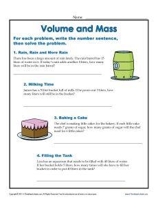 Units Of Measurement Worksheets Volume And Mass Word Problem Worksheets Word Problems Measurement Worksheets