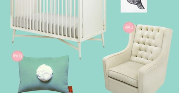 Offbeat sweet: aqua and pink baby nursery inspiration board
