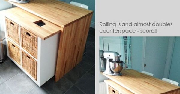 Clever 2 1 Rolling Kitchen Island Ikea Hack Home And Hearth Pinterest Islands Rolling