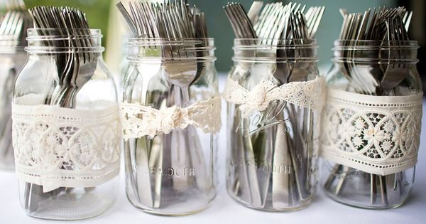 BRIDAL SHOWER mason jar for utensils