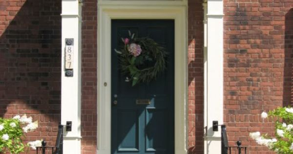 Red Brick And Dark Teal Colors That Go With Red Brick Pinterest Teal Door White Trim And