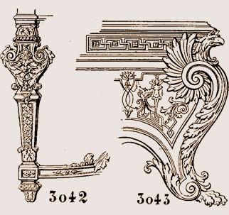 la figure 3042. Pied de console, style Louis XIV. La figure 3043 ...