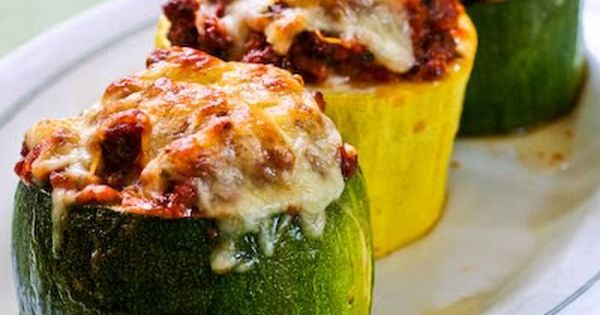 Meat (use ground turkey), Tomato, and Mozzarella Stuffed Zucchini Cups - a