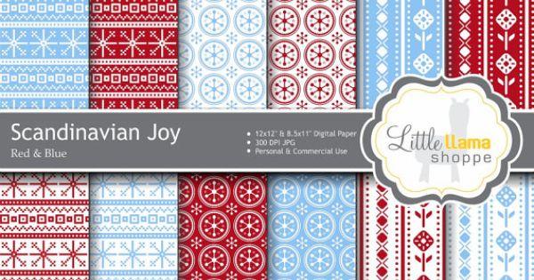 Nordic Pattern Digital Paper // Scandinavian Print Scrapbook Paper // Knit Sw...
