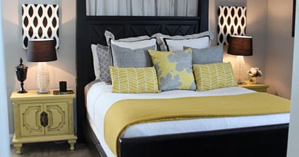 Gray and Yellow Bedroom - the canopy is just two curtain rods