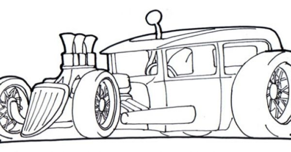 free drawing page of a hot rod car to print and color for
