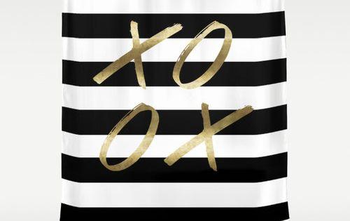Black and white stripe shower xoxo gold shower curtain for Black and white striped bathroom accessories