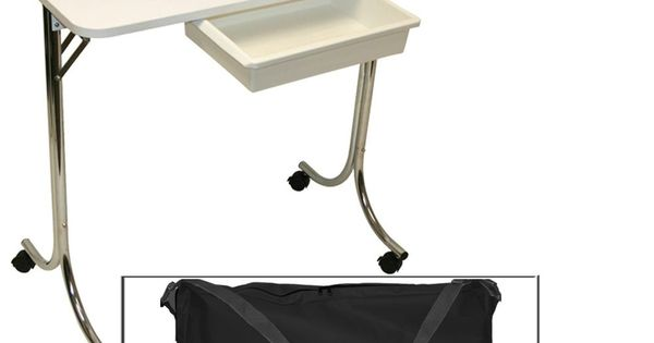 White portable manicure nail table station desk spa beauty for Fold up nail table