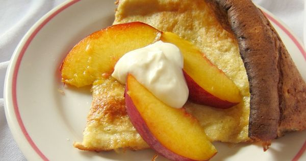 Dutch Baby with Peaches and Honeyed Goat Cheese - the caretaker's ...
