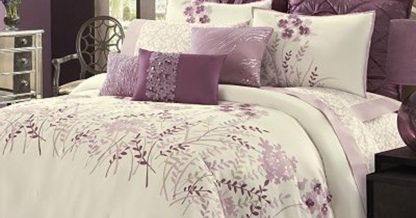 Pretty one i like the fact that it is more white with for White bedding with purple accents