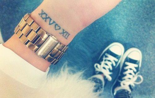 Wrist tattoo.. Love the Roman numerals, child's birthday