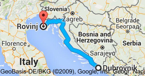 How Far Is Rovinj From Dubrovnik Rovinj Croatia Croatia Map Plitvice Lakes