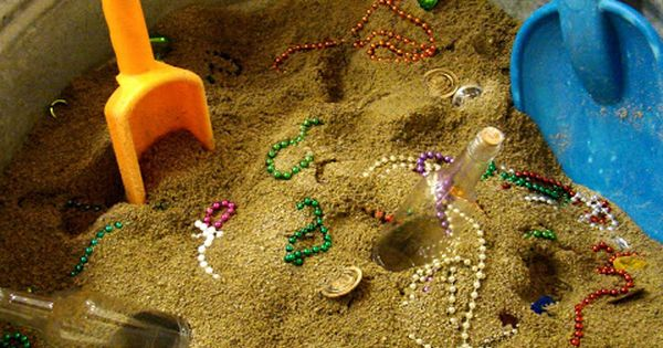 Treasure hunt in the sand box. Loads of fun and something to