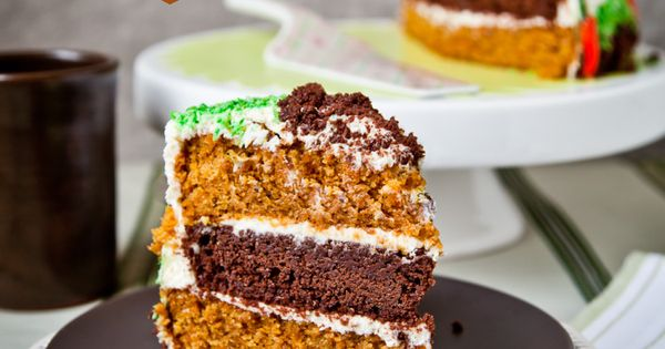Carrot & Brownie Layer Cake with Whipped Cream & Cream ...
