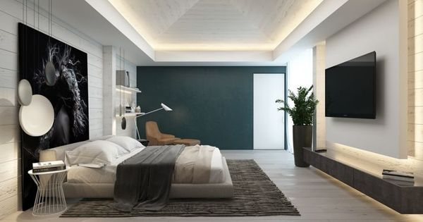 Chambre contemporaine 33 id es d co murale design chambre contemporaine contemporain et mur - Decoration murale contemporaine ...