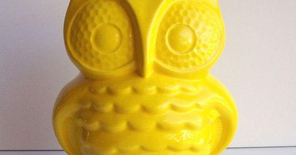Owl Bank, Owl Piggy Bank, Money Box, Vintage Design, Lemon Yellow, Retro Home Decor, Owl Room ...