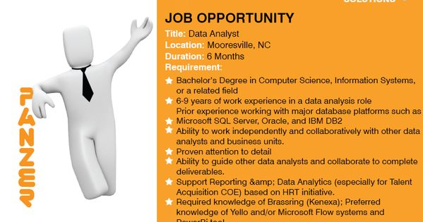 Job Title Data Analyst Location Mooresville North Carolina Share Resumes On Resume Panzersolutions Com Or For Business Analyst Job Opportunities Job Opening