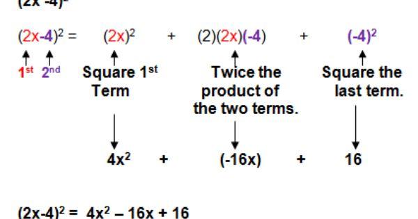 Binomial Special Cases Teaching Math Tricks College Organization
