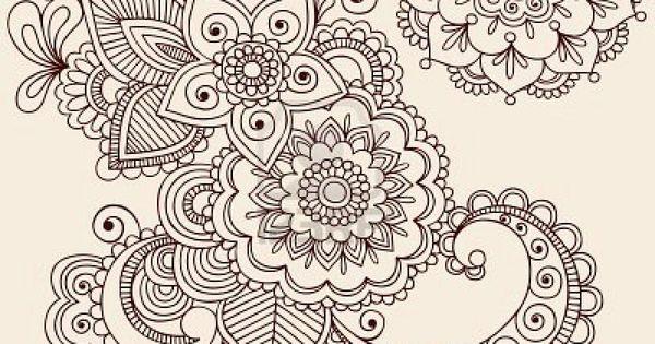 Mehndi Menu Ideas : Flowers motif for ryan and diana s menus table