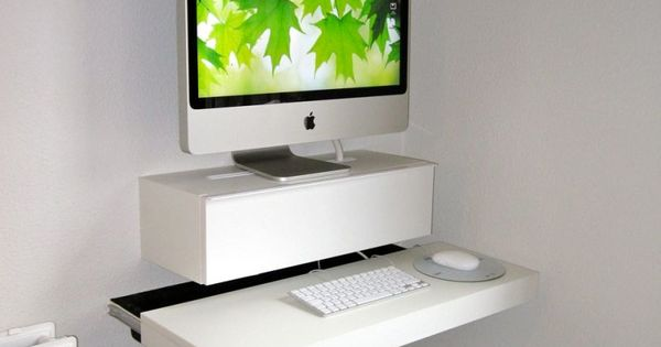 Minimalist White Imac Floating Desk Wall Mounted Ikea