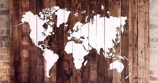 carte du monde sur bois palette planches de palettes palettes et note. Black Bedroom Furniture Sets. Home Design Ideas