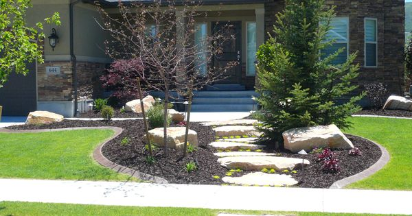 Image detail for stone walkway with custom front yard for Unique front yard landscaping ideas