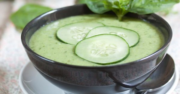 Vegan Cucumber Basil Avocado Gazpacho (gluten-free) from the Manifest Vegan blog. Perfect