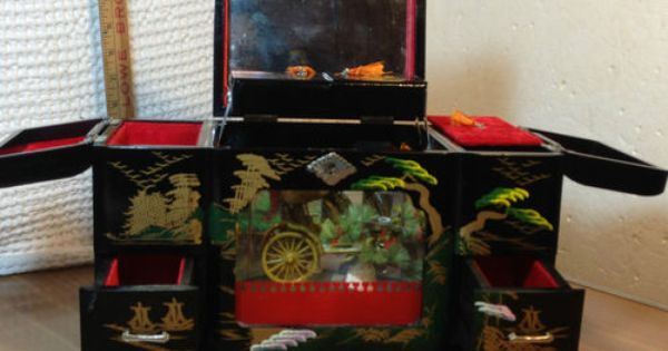 Vintage Japanese Mt Fuji Black Lacquer Hand Painted