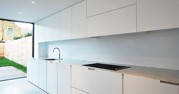 Minimalist interior terraced house refurbishment kitchen for Minimalist house london